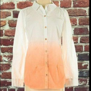 ISAAC MIZRAHI OMBRÉ ORANGE & WHITE TOP BLOUSE